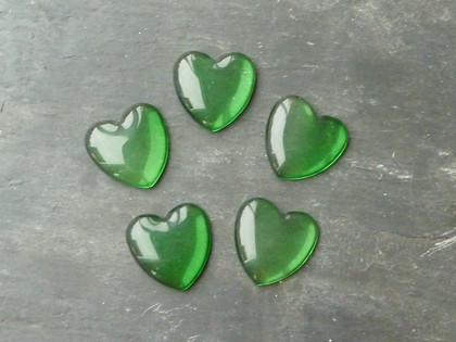 Green Glass Heart Cabochons 25mm