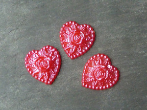 Pink Heart & Rose Resin Cabochons 17mm