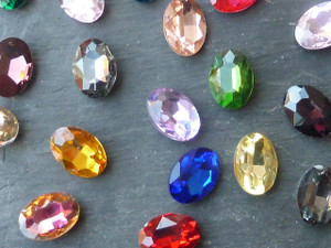 Colourful Glass Chaton Back Gems Oval 13x18mm
