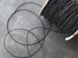 Thin black elastic cord 1mm