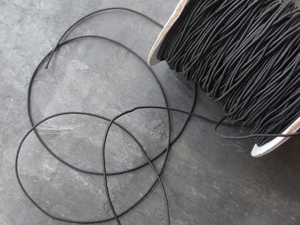 Thin black elastic cord 1mm