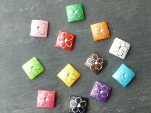Silver Flower Detail Square Cabochons 10mm
