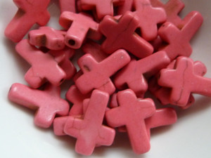 Dyed Howlite Pink Small Cross