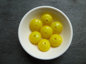 Handmade Hollow Glass Yellow Beads