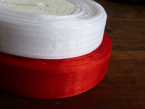 Organza Ribbon Christmas Red & White 2pk 20m