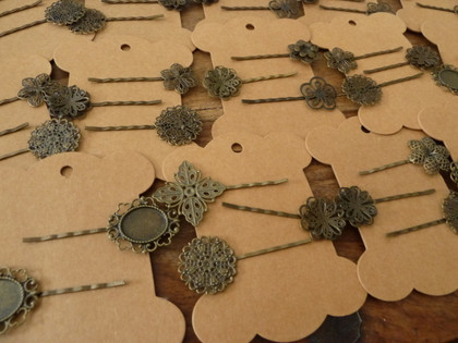 Lot of Vintage Style Bronze Hair Pins