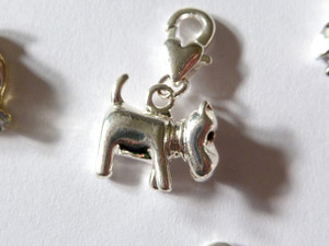 Silver Dog Clip-On Charm