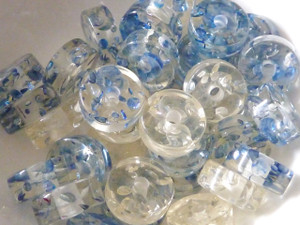 Resin Beads 12mm pk 10 Blue & Clear