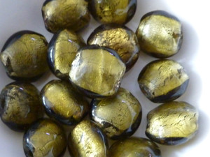 Silver Lined Lampwork Glass Coin Beads 14mm Olive Green