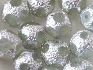 Table-Cut Glass Beads 13mm Clear & Silver