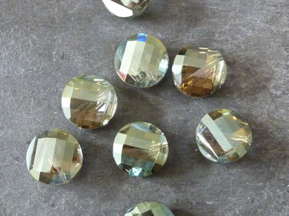 Facetted Crystal Coin Twist Beads Grey-Green 14mm