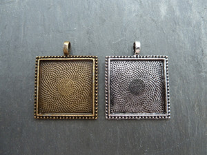 Ornate Square Pendant Setting Blanks 25mm