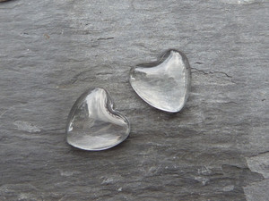 Crystal Clear Domed Glass Hearts 18mm