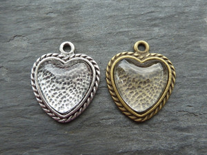 Vintage Style Heart Pendant Trays 18mm