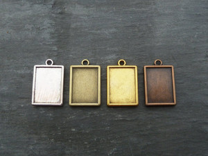Double-Sided Rectangle Pendant Blanks - 14.5x20mm
