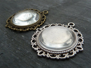 Vintage Style Round Pendant Trays for 20mm glass