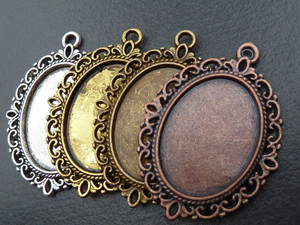Vintage Style Oval Pendant Trays for 18x25mm glass