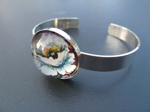 Silver Plated Bangle with 25mm Round Bezel