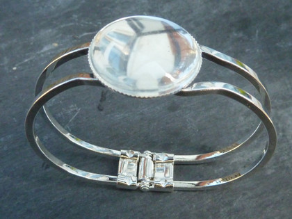 Silver Plated Spring Bangle with 25mm Bezel