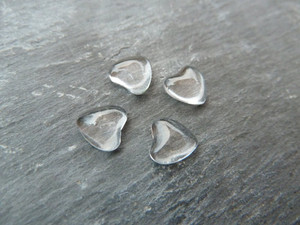 Crystal Clear Domed Tiny Glass Hearts 8mm