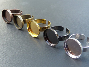 Ring Blanks with 16mm Round Bezel Cup