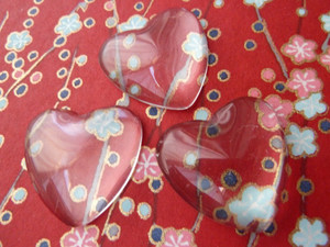 Crystal Clear Glass Hearts 23.5mm