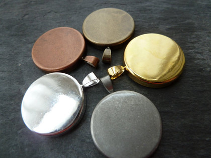 Round Lightweight Pendant Trays Blanks 25mm
