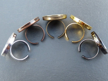 Ring Blanks with 25mm Round Bezel Cup