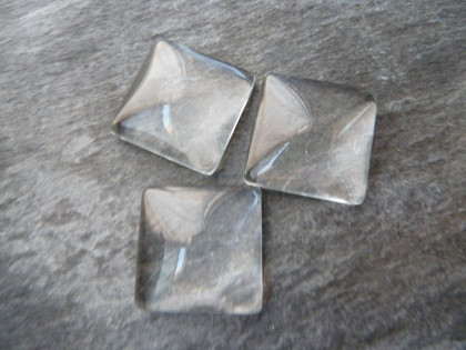 Crystal Clear Domed Square Glass Tiles 12mm