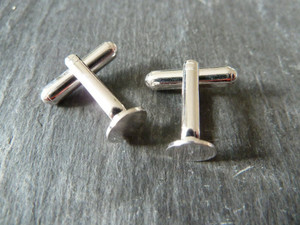 Silver Plated Cufflink Blanks with Pad