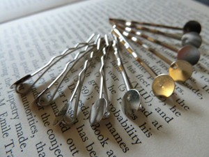 Silver Tone Bobby Pins Hair Grips with Pad