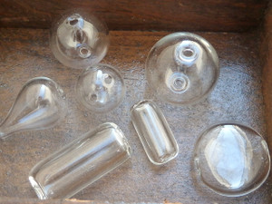 Clear Hollow Blown Glass Beads - Tube 11x26mm