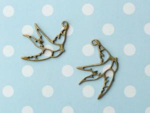 Bronze Swallow Cutout Pendant