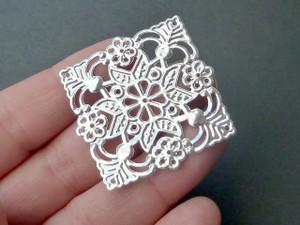 Square Silver filigree