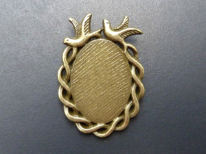 Twin Bird Twist Oval Pendant Trays 18x25mm