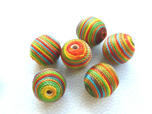 Rainbow Cord Wooden Beads 20mm