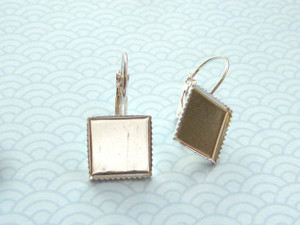 Spring-Back Earrings with 12mm Square Bezel