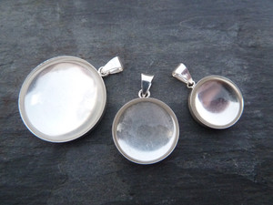 Sterling Silver Pendant Trays - Round 18mm
