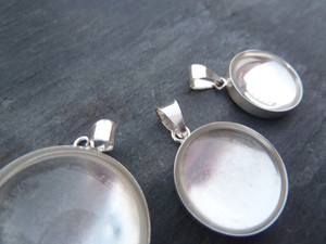 Sterling Silver Pendant Trays - Round 35mm