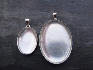 Sterling Silver Pendant Trays - Oval 13x18mm