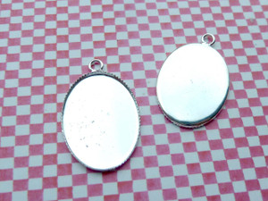 Silver Plated Oval Charm Blanks - 18x25mm