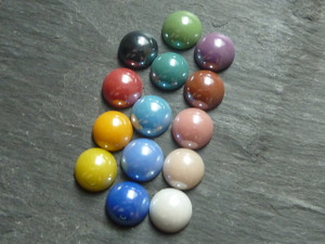 Colourful Glass Cabochons 11-12mm