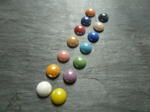 Colourful Glass Cabochons 9.5-10mm