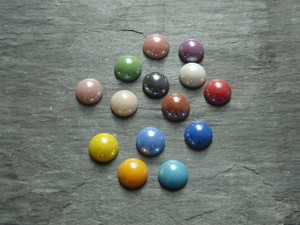 Colourful Glass Cabochons ca. 8mm