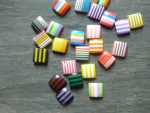 Stripy Resin Cabochons 10mm