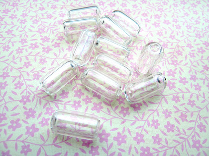 Clear Hollow Blown Glass Beads - Tube 10x17mm