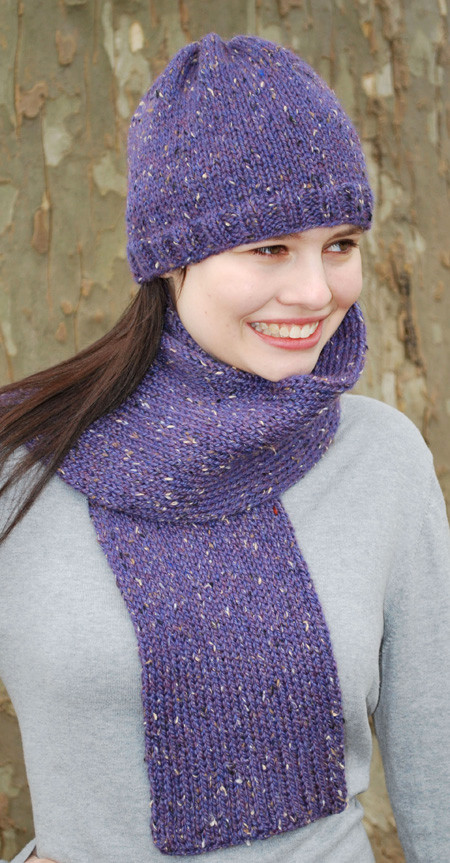 Basic Stockinette Hat and Scarf - http   www.knittingboard.com  9981d095a10