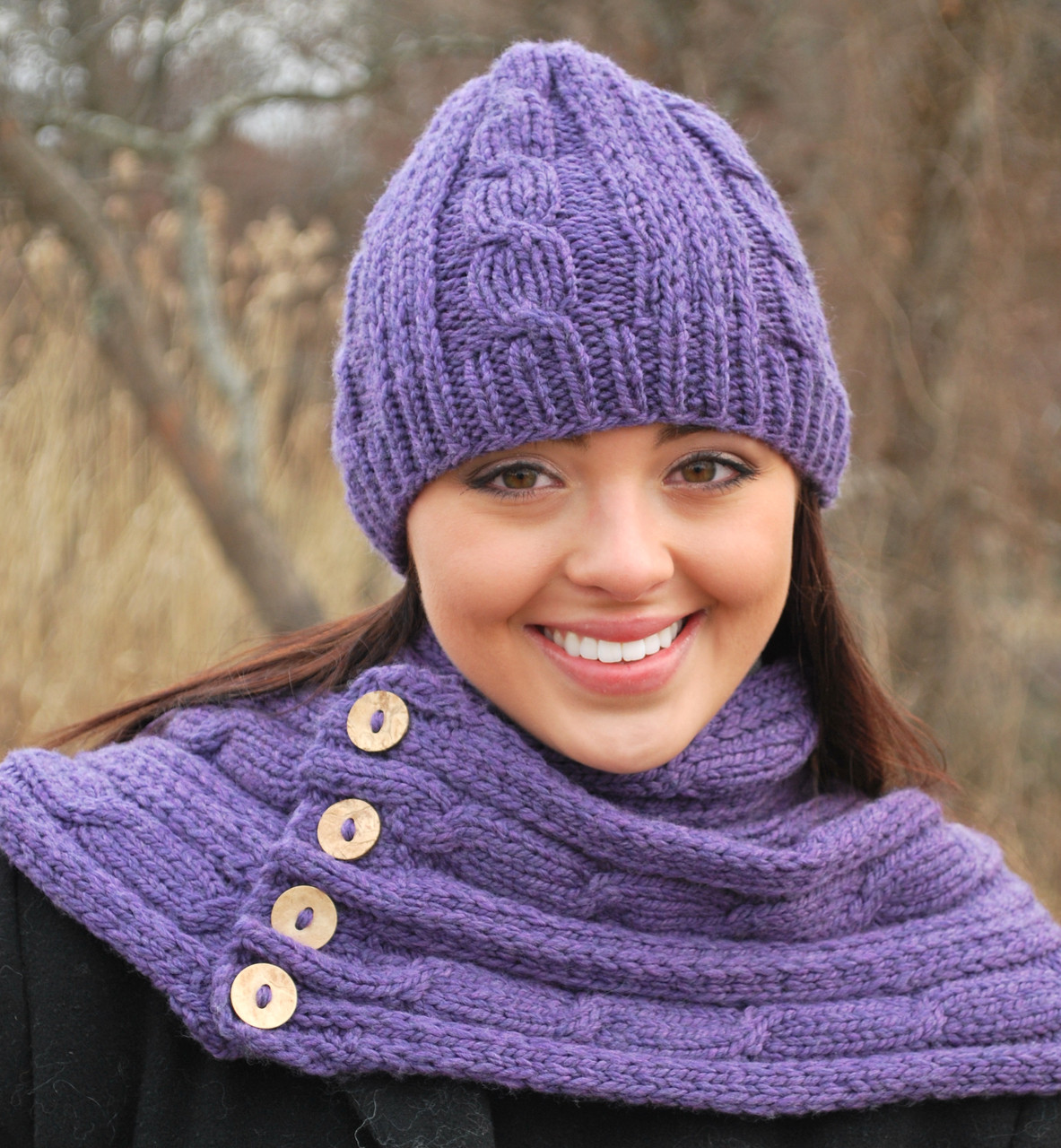 Heather Cable Hat And Scarf Http Www Knittingboard Com