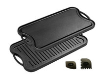 "Cast Iron Griddle (20"" by 10""), Reversible, Pre-Seasoned, Grill and Griddle Combo, BBQ, Campfire, fits over two stovetop burners"