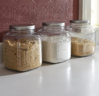 Anchor Hocking 1 Gallon Glass Cracker Jar with Brushed Silver lid, set of 4